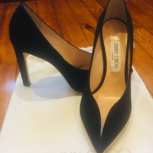 Jimmy Choo Women Shoes Black Suede Pumps Stiletto Peep Toe